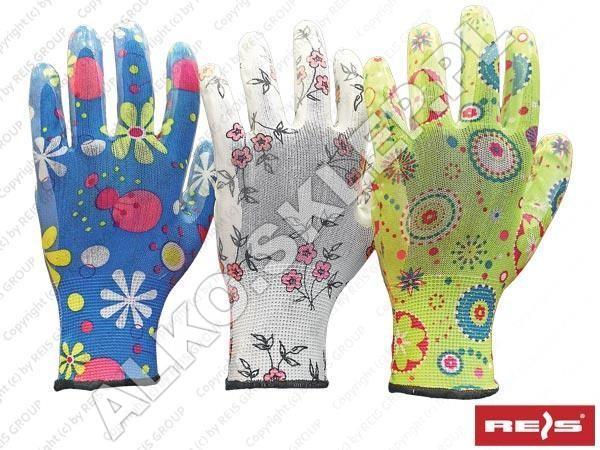 Rękawice ochronne wykonane z poliestru, powlekane nitrylem